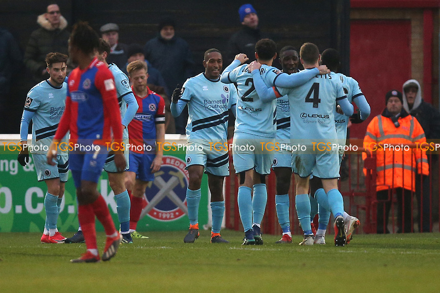 Ricky Shakes of Boreham Wood scores the second goal for his team and celebrates with his team mates during Dagenham & Redbridge vs Boreham Wood, Vanarama National League Football at the Chigwell Construction Stadium on 5th January 2019