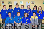 Castleisland Community College students who was honoured for their sporting achievements at the school annual awards ceremony in the college on Friday front row l-r: Aoife Nolan, Sorcha O'Connor, Aoife O'Leary, Marie Moriarty teacher. Back row: Erin O'Connor, Derval Sheehy, Roisin Casey, Christine Brosnan, Amy Reidy, Seorcha Teahan and Rhianne Gallagher..