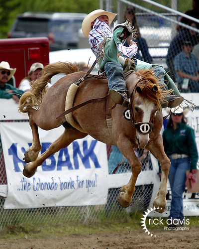 Hometown cowboy Tim Shirley thrilled the Father's Day crowds in Evergreen, Colorado, on June 15th with a spectacular 87 point winning ride on the Chervi Championship Rodeo bronc Bronco Billy. Tim's winnings helped maintain his 2008 PRCA Bareback Riding Top 20 World Standings seat.