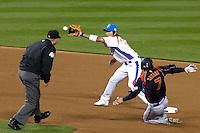 23 March 2009:  #7 Yasuyuki Kataoka of Japan steals second base over #16 Ki Hyuk Park of Korea in the seventh inning during the 2009 World Baseball Classic final game at Dodger Stadium in Los Angeles, California, USA. Japan defeated Korea 5-3