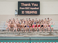 "The Occidental College swimming & diving team pose at Taylor Pool on Dec. 4, 2014. The photo was arranged to say ""thank you"" for the recent donations towards the Ranier De Mandel Aquatic Center and expansion of the McKinnon Tennis Center. (Photo by Marc Campos, Occidental College Photographer)"