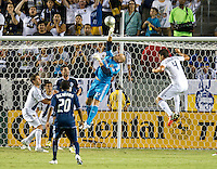 CARSON, CA - September 1, 2012:  LA Galaxy goalie Josh Saunders (12) makes a save during the LA Galaxy vs the Vancouver Whitecaps FC at the Home Depot Center in Carson, California. Final score LA Galaxy 1, Vancouver Whitecaps FC 0.