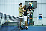 Petros Chrysochos (right) of the Wake Forest Demon Deacons hugs teammate Borna Gojo after defeating him in the finals of the 2018 NCAA Men's Tennis Singles Championship at the Wake Forest Indoor Tennis Center on May 28, 2018 in Winston-Salem, North Carolina.  Petros Chrysochos defeated teammate Borna Gojo 6-3 6-3.  (Brian Westerholt/Sports On Film)
