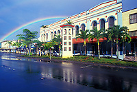 A rainbow over downtown Hilo, Hawaii.