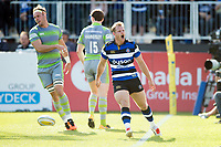 Chris Cook of Bath Rugby celebrates a would-be try but the score is later ruled out. Aviva Premiership match, between Bath Rugby and Newcastle Falcons on September 23, 2017 at the Recreation Ground in Bath, England. Photo by: Patrick Khachfe / Onside Images