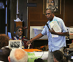 "Pierre Leroy speaking on the subject of the Haitian Revolution, at the ""An Evening of Real History"" event, at the A.J. Williams-Myers African Roots Center, in Kingston, NY, on Saturday, July 29, 2017. Photo by Jim Peppler. Copyright/Jim Peppler-2017."