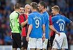 St Johnstone v FC Spartak Trnava...31.07.14  Europa League 3rd Round Qualifier<br /> Marek Janecka and Steven MacLean square up<br /> Picture by Graeme Hart.<br /> Copyright Perthshire Picture Agency<br /> Tel: 01738 623350  Mobile: 07990 594431