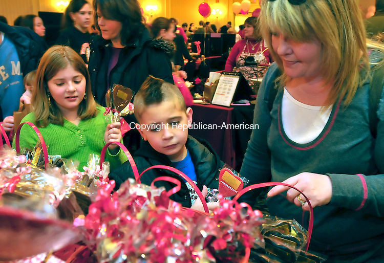 SOUTHBURY, CT-31 JANUARY 2009-013110JS04-Patty Griffin of Plymouth, right, looks over candy from C.C.'s Candy of Wolcott with her children Conor Griffin, 7,  center and Cassie Griffin, 9, left, during the 17th annual Chocolate Lovers' Expo to benefit Easter Seals Sunday at the Crowne Plaza Hotal in Southbury. <br /> Jim Shannon Republican-American