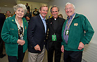 Sept. 1, 2012; Rev. John I. Jenkins, C.S.C., with Taoiseach, Enda Kenny, and Carmel and Martin Naughton (right) in the President's Terrace prior to 2012 Emerald Isle Classic against Navy at Aviva Stadium in Dublin, Ireland. Photo by Barbara Johnston/University of Notre Dame