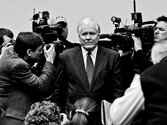 AIG's CEO Edward Liddy arrives for the Subcommittee on Capital Markets, Insurance, and Government Sponsored Enterprises hearing on AIG on March 18, 2009