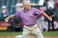 Round Rock Express Principal Owner and Hall of Famer Nolan Ryan throws the ceremonial first pitch before the Pacific Coast League baseball game against the Oklahoma City Redhawks on April 3, 2014 at the Dell Diamond in Round Rock, Texas. The Redhawks defeated the Express 7-6 in the season opener for both teams. (Andrew Woolley/Four Seam Images)