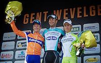 Matti Breschel (3rd), Tom Boonen (1st) & Peter Sagan (2nd)..74th Gent-Wevelgem (2012).236km between Deinze & Wevelgem.winner 2012: Tom Boonen..