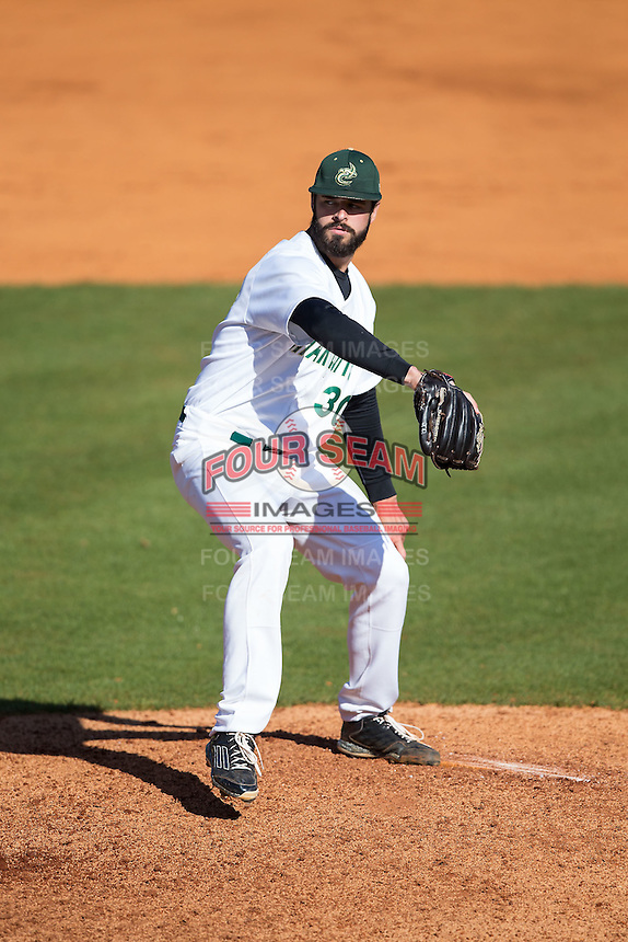 Charlotte 49ers starting pitcher J.D. Prochaska (30) in action against the Louisiana Tech Bulldogs at Hayes Stadium on March 28, 2015 in Charlotte, North Carolina.  The 49ers defeated the Bulldogs 9-5 in game two of a double header.  (Brian Westerholt/Four Seam Images)