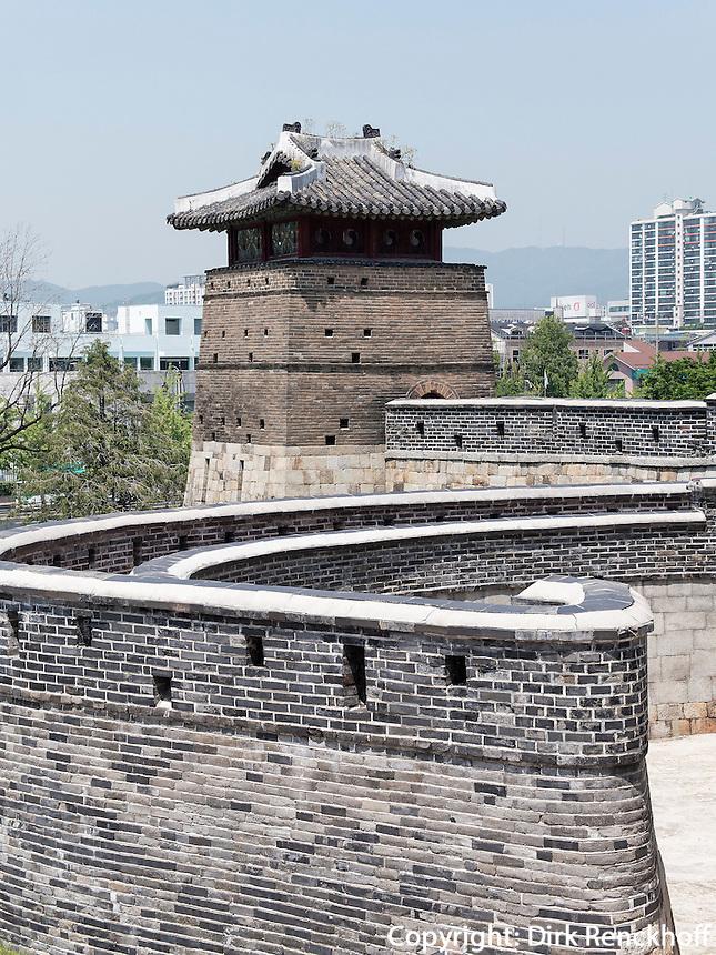 Seobukgongsimdon Pavillon der Festung von Suwon, Provinz Gyeonggi-do, S&uuml;dkorea, Asien, Unesco-Weltkulturerbe<br /> pavilion Seobukgongsimdon in fortress Hwaseong, Suwon, Province Gyeonggi-do, South Korea Asia, UNESCO World-heritage