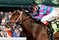 LEXINGTON, KY - April 07, 2018. #12 Finley'sluckycharm and jockey Brian Hernandez Jr. win the 17th running of The Madison Grade 1 $300,000 for owner Carl Moore Management and trainer Bret Calhoun at Keeneland Race Course.  Lexington, Kentucky. (Photo by Candice Chavez/Eclipse Sportswire/Getty Images)