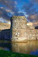 Beaumaris Castle built in 1284 by Edward 1st, considered to be one of the finest example of 13th century military architecture by UNESCO. A Unesco World Heritage Site. Beaumaris, Anglesey Island, Wales.