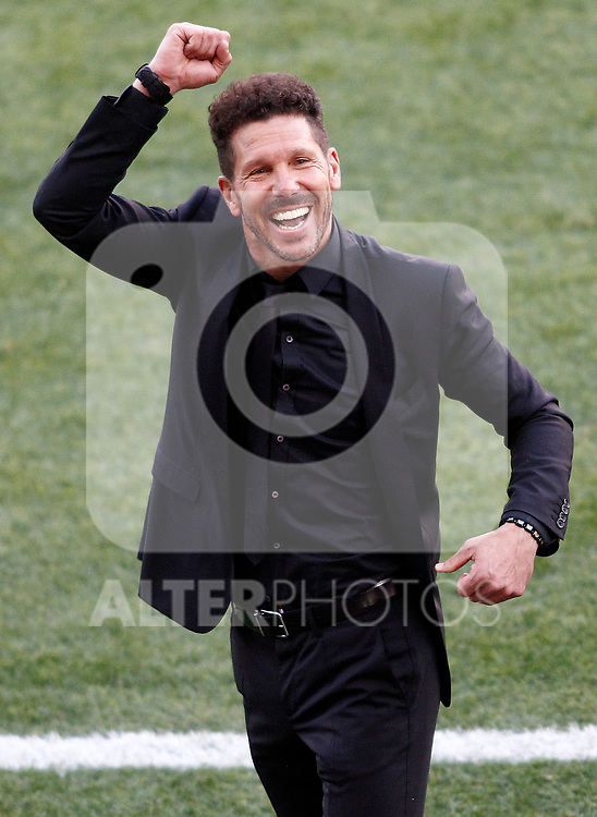 Atletico de Madrid's coach Diego Pablo Cholo Simeone celebrate goal during La Liga match. March 19,2017. (ALTERPHOTOS/Acero)