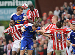 Leon Cort of Stoke City rises up to clear  during the Championship League match at The Britannia Stadium, Stoke. Picture date 4th May 2008. Picture credit should read: Simon Bellis/Sportimage