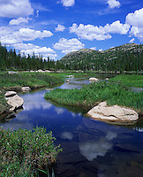 Rocky Mountain National Park, CO<br /> Morning clouds reflecting on Glacier Creek as it flows into Jewel Lake