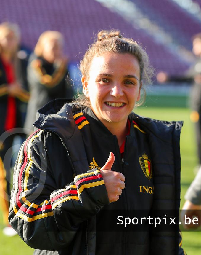 20191008 CLUJ NAPOCA: Belgium's Davina Philtjens is pictured before the match between Belgium Women's National Team and Romania Women's National Team as part of EURO 2021 Qualifiers on 8th of October 2019 at CFR Stadium, Cluj Napoca, Romania. PHOTO SPORTPIX | SEVIL OKTEM