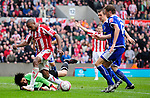 Ricardo Fuller of Stoke City through on goalhas his run stopped by Paul Henderson of Leicester City during the Championship League match at The Britannia Stadium, Stoke. Picture date 4th May 2008. Picture credit should read: Simon Bellis/Sportimage