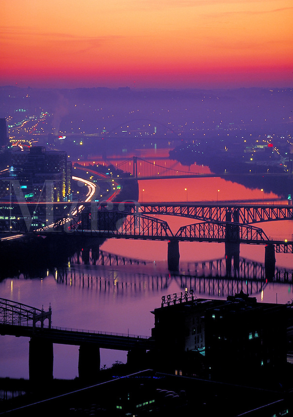 Skyline with Smithfield Bridge are shown in early morning light. Pittsburgh Pennsylvania United States.