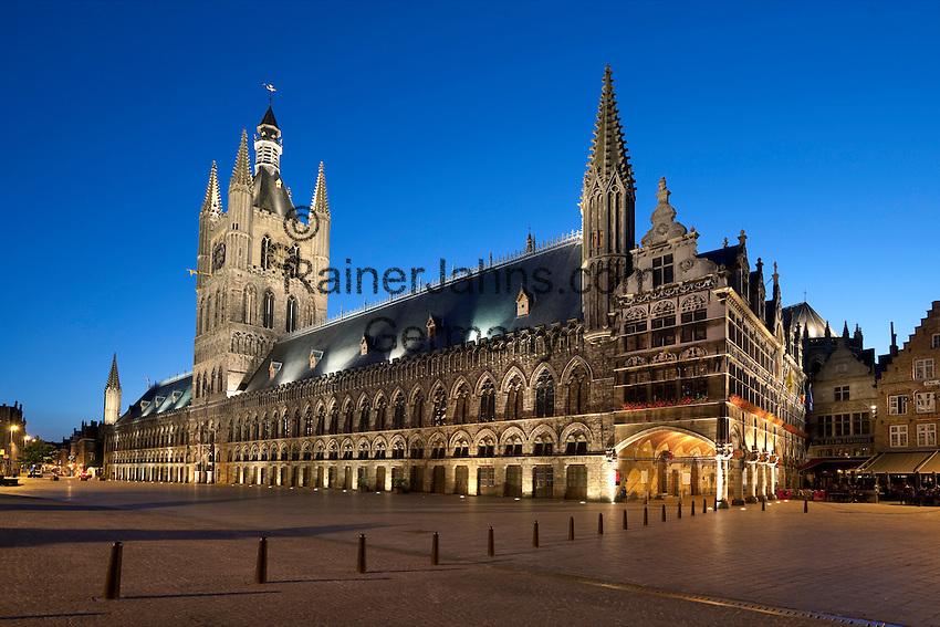 Belgium, West Vlaanderen, Ypres: Nightshot of the Cloth Halls in the Grote Markt, UNESCO World heritage