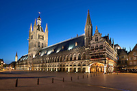 Belgium, West Vlaanderen, Ypres: Nightshot of the Cloth Halls in the Grote Markt, UNESCO World heritage