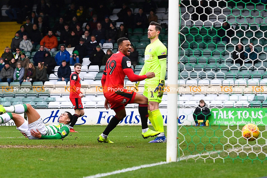 Wes Thomas of Grimsby Town scores the second goal and celebrates during Yeovil Town vs Grimsby Town, Sky Bet EFL League 2 Football at Huish Park on 9th February 2019