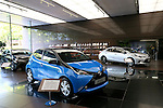 May 8, 2015, Tokyo, Japan - Cars are seen at Toyota Motor Corp's showroom in Tokyo on Friday, May 8, 2015. The world's top-selling automaker forecasts operating profit will edge up 1.8 percent this year to 2.80 trillion yen. (Photo by Yohei Osada/AFLO)