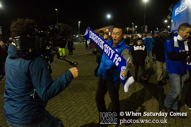 Leicester City 0 Manchester City 0, 29/12/2015. King Power Stadium, Premier League. A Leicester fan holds a scarf up for a tv camera at The King Power Stadium Leicester, before the goalless draw between Leicester City and Manchester City. Photo by Paul Thompson.