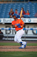 Syracuse Mets Dilson Herrera (16) at bat during an International League game against the Charlotte Knights on June 11, 2019 at NBT Bank Stadium in Syracuse, New York.  Syracuse defeated Charlotte 15-8.  (Mike Janes/Four Seam Images)