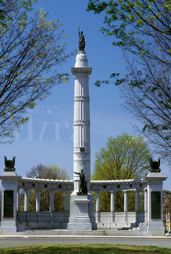 Richmond, Virginia, VA, Jefferson Davis Monument at Historic Monument Avenue in Richmond.