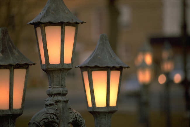 decorative street lamps at dusk