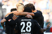 celebrate the goal, Torjubel zum 3:0 von Jonathan de Guzman (Eintracht Frankfurt) mit Ante Rebic (Eintracht Frankfurt) und Allen Rodrigues de Souza (Eintracht Frankfurt), Filip Kostic (Eintracht Frankfurt), Lucas Torro (Eintracht Frankfurt) - 30.09.2018: Eintracht Frankfurt vs. Hannover 96, Commerzbank Arena, DISCLAIMER: DFL regulations prohibit any use of photographs as image sequences and/or quasi-video.