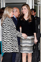 Princess Letizia of Spain and Mari Mar Blanco attend to the XI Tribute Concert of all the victims of terrorism at Auditorio Nacional in Madrid, Spain. March 03, 2013. (ALTERPHOTOS/Caro Marin) /nortePhoto