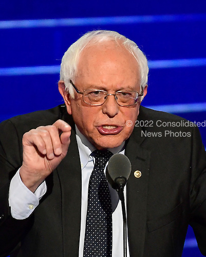 United States Senator Bernie Sanders (Independent of Vermont) makes remarks at the 2016 Democratic National Convention at the Wells Fargo Center in Philadelphia, Pennsylvania on Monday, July 25, 2016.<br /> Credit: Ron Sachs / CNP<br /> (RESTRICTION: NO New York or New Jersey Newspapers or newspapers within a 75 mile radius of New York City)