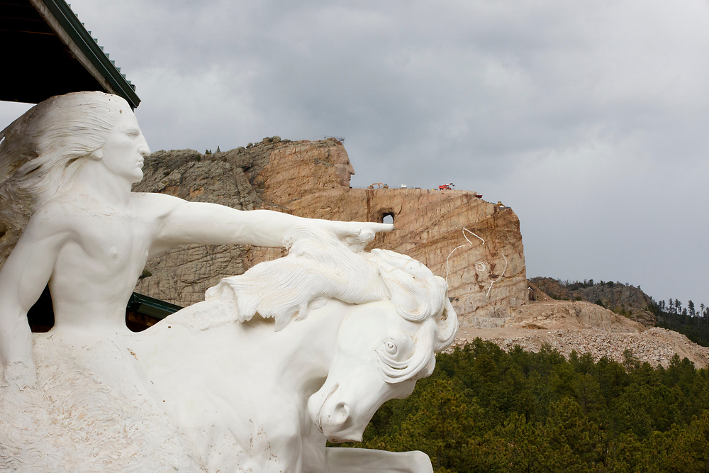 A model shows the vision for the completed Crazy Horse Memorial in South Dakota on Sunday, May 21, 2017. (Photo by James Brosher)