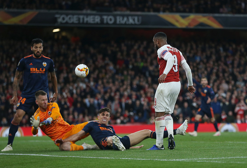 Arsenal's Alexandre Lacazette with a second half shot<br /> <br /> Photographer Rob Newell/CameraSport<br /> <br /> UEFA Europa League Semi-final 1st Leg - Arsenal v Valencia - Thursday 2nd May 2019 - The Emirates - London<br />  <br /> World Copyright © 2018 CameraSport. All rights reserved. 43 Linden Ave. Countesthorpe. Leicester. England. LE8 5PG - Tel: +44 (0) 116 277 4147 - admin@camerasport.com - www.camerasport.com