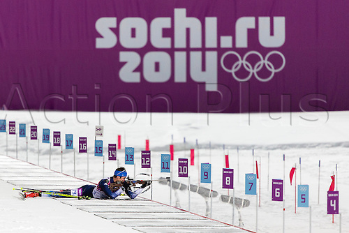 08.02.14 Sochi, Krasnodar Krai, Russia.  Leif  NORDGREN (USA) shoots in the prone position during the Men's Biathlon 10km Sprint  at the Laura Cross-Country Ski & Biathlon Centre - XXII Olympic Winter Games