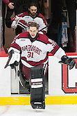 Luke Esposito (Harvard - 9), Merrick Madsen (Harvard - 31) - The Harvard University Crimson defeated the Brown University Bears 4-3 to sweep their first round match up in the ECAC playoffs on Saturday, March 7, 2015, at Bright-Landry Hockey Center in Cambridge, Massachusetts.
