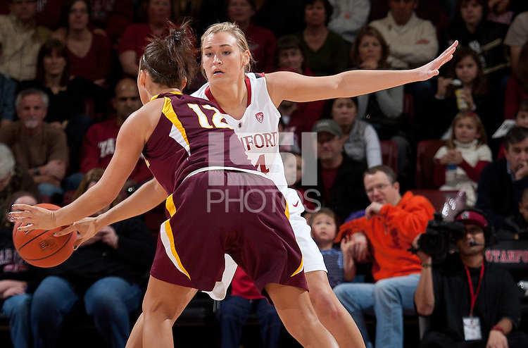 STANFORD, CA - January 8, 2011: Joslyn Tinkle of the Stanford Cardinal women's basketball team during Stanford's game against Arizona State at Maples Pavilion. Stanford won 82-35.