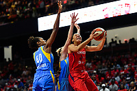 Washington, DC - September 8, 2019: Washington Mystics forward Aerial Powers (23) goes up for a lay up defended by Chicago Sky forward Kayla Alexander (40) and guard Katie Lou Samuelson (33) during game between the Chicago Sky and Washington Mystics at the Entertainment and Sports Arena in Washington, DC. The Mystics locked up the #1 seed in the Playoffs by defeating the Sky 100-86. (Photo by Phil Peters/Media Images International)