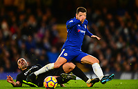 Beram Kayal of Brighton makes a slide tackle on Eden Hazard of Chelsea during the EPL - Premier League match between Chelsea and Brighton and Hove Albion at Stamford Bridge, London, England on 26 December 2017. Photo by PRiME Media Images.
