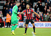 3rd December 2017, Vitality Stadium, Bournemouth, England; EPL Premier League football, Bournemouth versus Southampton; Callum Wilson of Bournemouth shakes hands with Fraser Forster of Southampton at full time