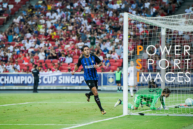 FC Internazionale Forward Eder Citadin Martins celebrating his score during the International Champions Cup match between FC Bayern and FC Internazionale at National Stadium on July 27, 2017 in Singapore. Photo by Marcio Rodrigo Machado / Power Sport Images