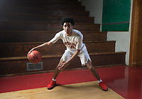 NWA Democrat-Gazette/CHARLIE KAIJO  Division I Boys Player of the Year Isaiah Joe of Fort Smith Northside High School poses for a portrait, Friday, March 16, 2018 at Springdale High School auxiliary gym in Springdale