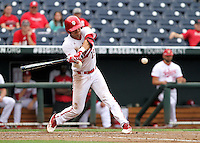 Austin Cangelosi (18) looks to connect with the ball during the Hoosiers' 5-3 loss to Maryland in the opening game of the Big Ten Tournament at TD Ameritrade Park in Omaha, Neb. on May 25, 2016. (Photo by Michelle Bishop)
