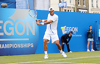11.06.13 London, England. Feliciano Lopez (ESP) in action playing against Ricardas Berankis (LTU) during the The Aegon Championships from the The Queen's Club in West Kensington.