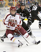 Johnny Gaudreau (BC - 13), Barrett Kaib (PC - 8) - The Boston College Eagles defeated the Providence College Friars 4-2 in their Hockey East semi-final on Friday, March 16, 2012, at TD Garden in Boston, Massachusetts.